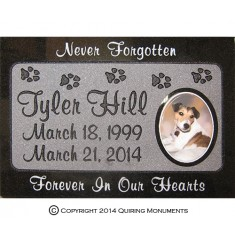 Paw prints and a ceramic steel photo of Tyler offer a lasting memorial for this beloved dog.