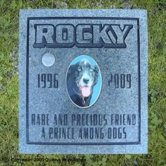 All who see Rocky's headstone will know that he was a Rare and Precious Friend, A prince among dogs and he will not be forgotten.