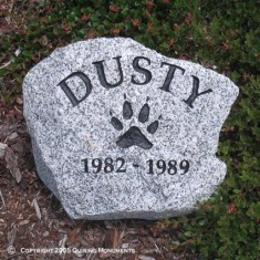 Adding Dusty's paw print on this rustic piece of natural stone is another way to remember him forever.