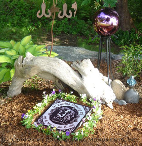 A treasured pet commemorated with a garden sized memorial